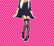 Woman legs in elegant black high heel shoes Royalty Free Stock Image