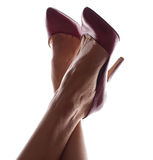 Woman Legs in Elegant Red High Heel Shoes Stock Photos
