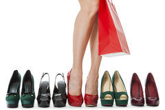 Woman Legs in Elegant Red Shoes Royalty Free Stock Photo