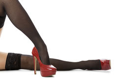 Woman Legs in Elegant Red Shoes. Close up Sexy Woman Legs Wearing Glossy Red High Heel Shoes and Gray Stockings. Isolated on White Background Stock Image