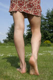 Woman legs  enjoying a sunny day outdoors Royalty Free Stock Image