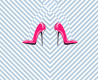 Woman legs in fashion high heels shoes. Pop art. Illustration Royalty Free Stock Photos