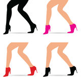 Woman legs in fashion shoes set illustration. In colorful Stock Photos