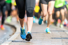 Woman legs and feet closup Marathon Stock Images