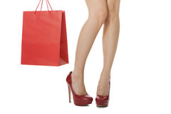 Woman Legs with Flawless Skin in Red High Heels Stock Images