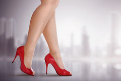 Woman legs with high heel shoes Stock Photos