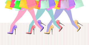 Woman legs with high heel shoes and shopping bags Stock Images
