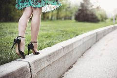 Woman legs and high heels Royalty Free Stock Image