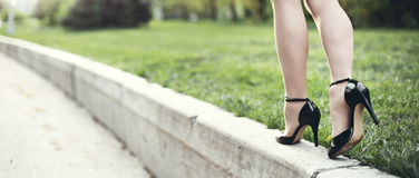 Woman legs and high heels Royalty Free Stock Photos