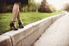 Woman legs and high heels Stock Image