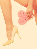 Woman legs in high heels shoes Stock Images