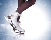 Free Woman Legs In Ice Skating Boots Royalty Free Stock Photography - 104355707
