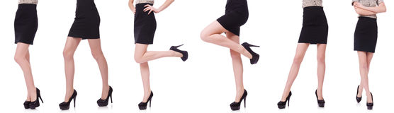 The woman legs isolated on the white Stock Images
