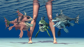 Woman legs and monstrous fish. Computer generated 3D illustration with woman legs and monstrous fish Royalty Free Stock Image