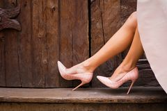Nude colored high heel shoes royalty free stock photo