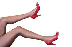 Woman legs over white Royalty Free Stock Photography