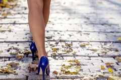 Woman legs in the park Stock Photo