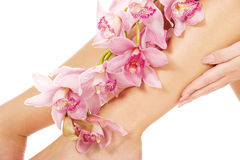 Woman legs with pink flowers. Royalty Free Stock Photo