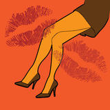 Woman legs and prints of lipstick Royalty Free Stock Image