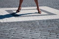 Woman legs in quadrant Royalty Free Stock Photo