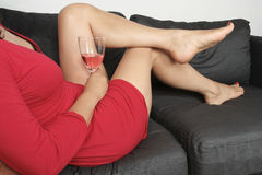 Woman  legs with  red dress Stock Photos