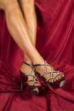 Woman legs on red with heels Stock Photography