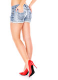Woman legs and red heels Royalty Free Stock Images