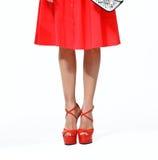 Woman legs in red high heels shoes. Woman legs in red high heels  shoes Stock Photos