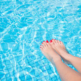 Woman legs with red nail Royalty Free Stock Image
