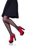 Woman legs with red shoes isolated Royalty Free Stock Images
