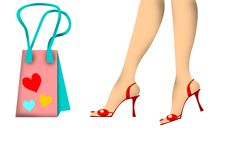 Woman legs on red shoes and shopping bag. With colored hearts vector illustration