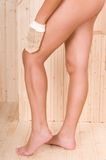 Woman legs in a sauna or relax massage Royalty Free Stock Photo