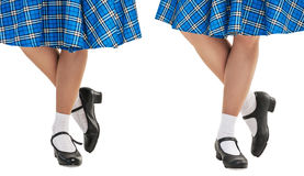 Woman legs in shoes for Scottish dance Royalty Free Stock Photography