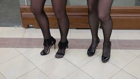 Woman legs and shoes and stockings.  stock footage