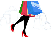 Woman Legs with Shopping Bag Royalty Free Stock Photo