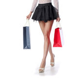Woman legs with shopping bags Royalty Free Stock Photos