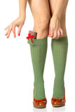 Woman legs and shopping gifts Royalty Free Stock Image