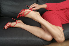 Woman  legs with short dress and heels Stock Photos
