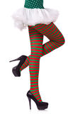Woman legs in striped stockings Royalty Free Stock Images