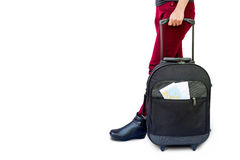 Woman legs with a suitcase Royalty Free Stock Photos