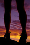 Woman legs walk sunset Stock Photography
