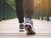 Woman legs walking exercise Outdoor Healthy lifestyle stock photos
