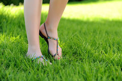Woman legs walking on grass Stock Images