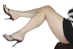 Woman legs wearing black heels Stock Image