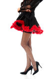 Woman legs wearing devil clothes Royalty Free Stock Image