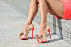 Woman legs wearing high heels. Outdoor fashion shoot Royalty Free Stock Photography