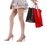 Woman legs wearing high heels  on shopping Royalty Free Stock Images