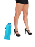 Woman legs wit shopping bag. Stock Photography