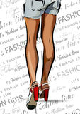 Woman Legs With Red Shoes. Vector Illustration EPS Stock Image