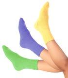 Woman legs in woollen socks Stock Photography